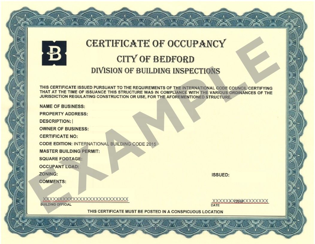 Certificate of Occupancy-Example